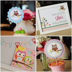 Owl Love You PRINTABLE Party Collection - Baby Shower or Birthday Party (avail. in girl, boy & neutral versions) by anna and blue paperie Happy Birthday Parties, Happy Birthday Cakes, Baby Birthday, Birthday Ideas, Birthday Banners, Summer Birthday, Baby Shower Parties, Baby Shower Themes, Shower Ideas