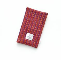 Smartphone cover in unusual red striped HARRIS TWEED £20.00