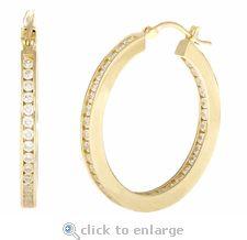 Ziamond Cubic Zirconia Hoop CZ Earrings 14K Yellow Gold.  The Duo Channel Hoop Earrings feature channel set round cubic zirconia.  $995 #ziamond #cubiczirconia #cz #hoops #earrings #diamond #jewelry