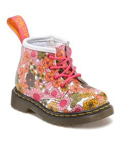 Love this Pink & White Floral Brooklee B Leather Boot - Kids by Dr. Martens on #zulily! #zulilyfinds