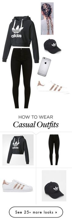 """Sporty Casual "" featuring adidas and adidas Originals Teenage Outfits, Teen Fashion Outfits, Sporty Outfits, Outfits For Teens, Fall Outfits, Womens Fashion, Fitness Outfits, Fast Fashion, Fashion Bags"