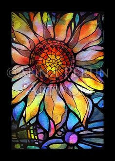 a painting that looks like stained glass Faux Stained Glass, Stained Glass Projects, Stained Glass Patterns, Stained Glass Tattoo, Stained Glass Designs, Mosaic Garden, Mosaic Art, Mosaic Glass, Mosaics