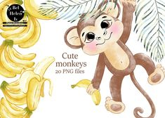 Watercolor Lettering, Watercolor Illustration, Digital Illustration, Safari Animals, Cute Animals, Cute Animal Clipart, Monkey And Banana, Tropical Animals, Cute Monkey