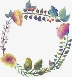 Watercolor flowers border PNG and Vector