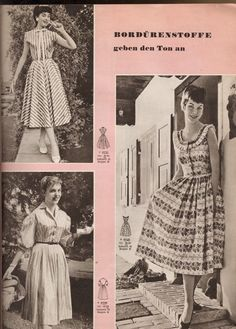 A trio of wonderfully lovely warm weather dresses, March 1956. #vintage #1950s #dresses #fashion