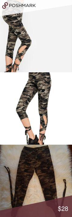 Camo Tie Joggers Brand new without tags! Size small. Fabric is very soft and very stretchy! Great for exercise,  dance or doing absolutely nothing.   Offers welcome! Pants Track Pants & Joggers