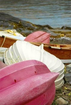 Row Boats Photograph Pink and White Boats Shore by JLMPHOTOGRAPHS