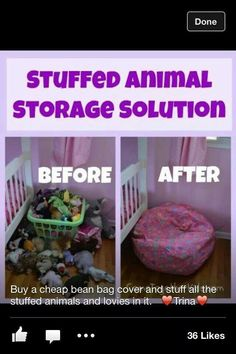 18 Cheap Hacks for Organizing a Bazillion Toys Stuffed Animal Storage Idea. Simple bean bag cover (Bed Bath Beyond) and fill with stuffed animals. Why didn't I think of this along time ago More from my siteDIY Room Organization and Storage Ideas! Stuffed Animal Storage, Stuffed Animal Organization, Stuffed Animal Holder, Storing Stuffed Animals, Stuffed Animal Bean Bag, Organisation Hacks, Storage Organization, Kids Storage, Cuddly Toy Storage Ideas