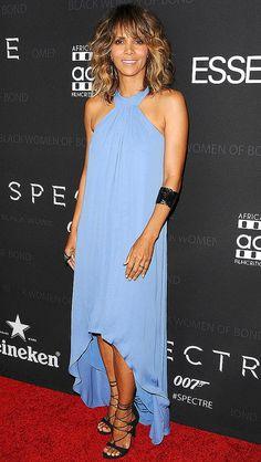 Halle Berry in a light blue halter dress