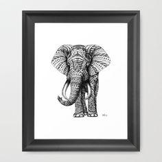 Ornate Elephant Framed Art Print by BioWorkZ - $33.00
