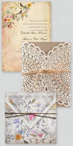 cute boho and vintage style floral and lace wedding invitations