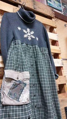 Upcycled sweater dress. Size large