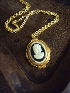 Vintage Cameo Necklace Set in Brass by primitivepincushion on Etsy, $26.99