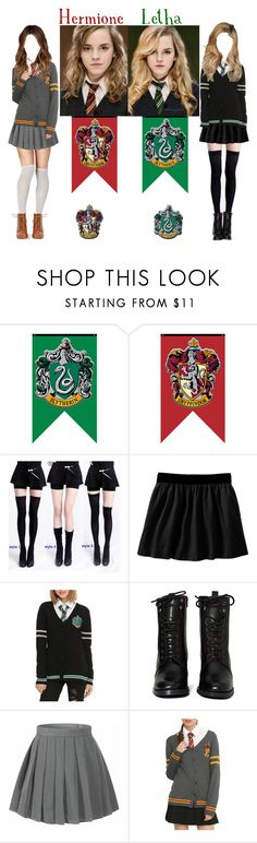 """Hermione & Letha Granger"" by demiwitch-of-mischief ❤ liked on Polyvore featuring Old Navy, Warner Bros., Report, harrypotter, slytherin, hogwarts and lethagranger"