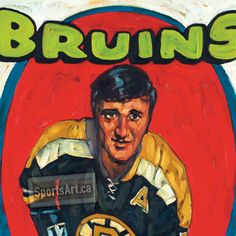 "My Pop Art !! As a kid I collected hockey cards, now I paint them. Boston Bruins legend Phil Esposito in ""Espo's 76 Goals""."