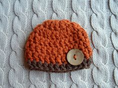 Chunky Crochet Striped Newborn Boy Beanie Hat in Burnt Dark Orange and Brown