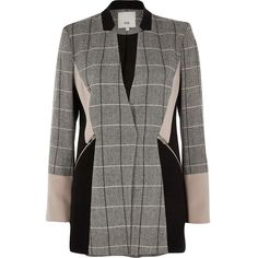 River Island Black check color block blazer ($140) ❤ liked on Polyvore featuring outerwear, jackets, blazers, black, blazer, coats / jackets, women, colorblock blazer, checkered blazer and long sleeve jacket