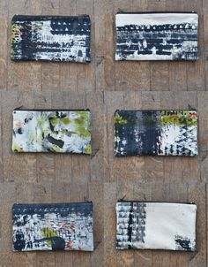 Drop cloth pouches, by Bookhou