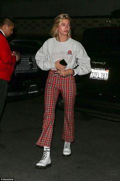Take to tartan like Hailey Baldwin in Miaou trousers #DailyMail