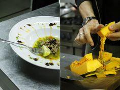 Tal-Petut, Private Dining Concept, Birgu (Vittoriosa), Malta. Salted tuna, marinated in lemon and mint. Prepping for roast pumpkin with cumin.