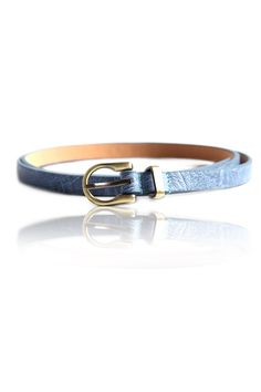 Simple Sky Blue Skinny Belt –    Stylish Skinny Belt, Crafted Leatherette Body, Pin Buckle Closure In The Front, Brush Antique Metal Finishing, Adjustable Length  -	Rs. 199.00