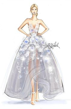 Karolina Kurkova in Marchesa x IBM Watson: Sketched with Copic Marker and Procreate  Fashion illustrations by Holly Nichols  #Fashion #Illustrations #Moda #Ilustraciones #HollyNichols #sketch