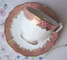 Aynsley bone china tea set with pink borders and gold filigree trim at VolvoxVintageShop on Etsy. SOLD!