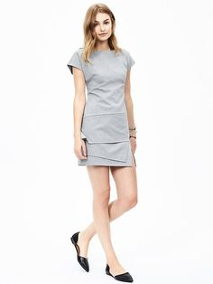 Ponte Asymmetrical Dress from Banana Republic...GOTTA have. Asymmetrical clothes are so interesting.