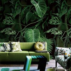 Beibehang Tropical Rainforest Palm Leaf Green Forest Natural Forest Non-woven Plant Flower Wallpaper Scroll Papel De Parede Good Heat Preservation Home Improvement