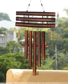 Bamboo Wooden Wood Outdoor Coconut Small /& Relaxation Ready Nalulu Floral Wind Chime