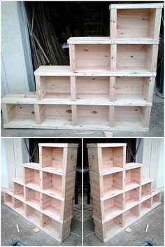 This is another wonderful wood pallets shelving cabinet. This pallets wood furniture is created and designed by up cycling useless wooden pallets. This is the best pallets plan to craft for your kitchen. This project is useless in keeping your glass, cups and other food items in it.