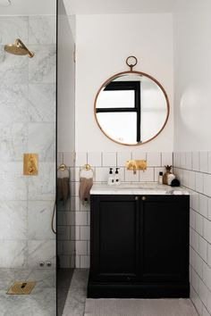 A bathroom should be a fabulous extension of your home. Impress guests with these 10 bathroom trends of 2016 for envy-inducing spring renovations. Dream Bathrooms, Beautiful Bathrooms, Small Bathroom, White Bathroom, Shower Bathroom, Brass Bathroom, Bathroom Mirrors, Bathroom Storage, Gold Shower
