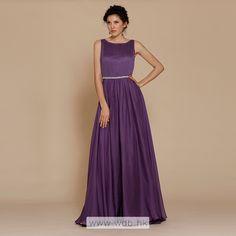 Elegant pleated bodice natural waist A-line chiffon bridesmaid dress $142.58