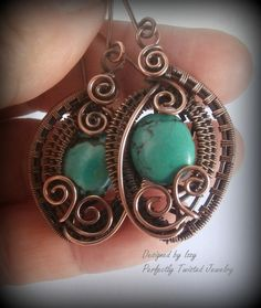 Blue Green Turquoise Wire Wrapped Antiqued Copper Earrings, Handmade Wire Wrapped Jewelry