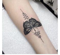 Butterfly & Unalome Tattoo by Medusa Lou Tattoo Artist - medusaloux@outlook.com