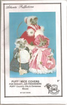Atlanta Puffections Puff Mice Covers. Covers for Renuzit Air Fresheners. Country, City and Christmas Mouse. 1991