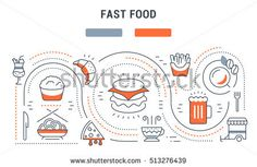 Flat line illustration of Fast food. Concept for web banners and printed materials. Template with buttons for website banner and landing page. Raster version.