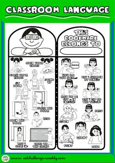 BOOKMARK FOR BOYS (B/W VERSION) http://eslchallenge.weebly.com/classroom-language.html
