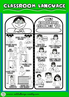 BOOKMARK FOR BOYS (B/W VERSION) http://eslchallenge.weebly.com/classroom-language.html