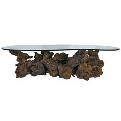 Driftwood Base Coffee Table With Freeform Glass Top