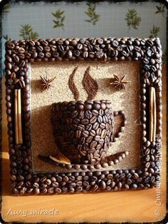 Risultati immagini per manualidades con cafe Diy Home Crafts, Diy Arts And Crafts, Crafts For Kids, Cork Crafts, Bottle Crafts, Paper Crafts, Coffee Bean Art, Coffee Beans, Diy Para A Casa