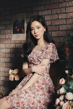 Korean Fashion – Designer Fashion Tips Korean Fashion Trends, Asian Fashion, Look Fashion, Fashion Models, Girl Fashion, Fashion Dresses, Watercolor Dress, Pretty Asian, Beautiful Girl Image