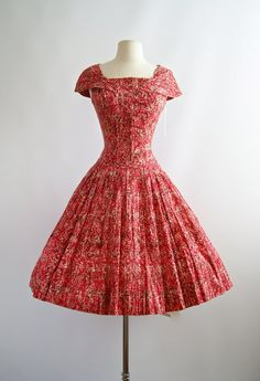 1950's Red Party Dress  Vintage 50s Full Skirt by xtabayvintage