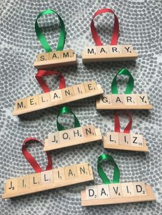 Items similar to Personalized Scrabble Ornament on Etsy Wooden Christmas Crafts, Christmas Gifts To Make, Handmade Christmas Decorations, Christmas Ornament Crafts, Xmas Crafts, Primitive Christmas, Handmade Ornaments, Christmas Items, Christmas Diy