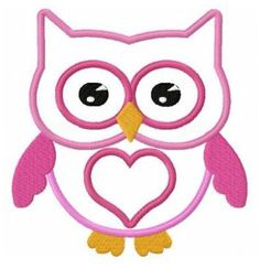 Love owl applique machine embroidery design