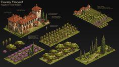 ArtStation - Forge of Empires - Tuscany Vineyard, Manuel Vormwald Tuscany Vineyard, New Fantasy, House Drawing, Fantasy Illustration, Environment Design, Art And Architecture, Great Britain, Concept Art, Empire