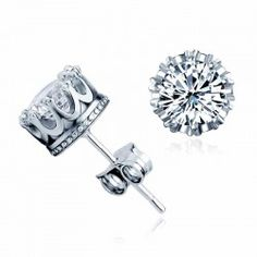 Sparking Prong Solitaire Crystal Sterling Silver Stud Earrings - USD $25.95