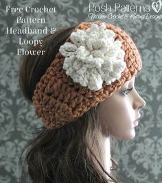 This free crochet headband pattern is quick and easy to make, cute and fashionable, and includes directions for a fun, loopy flower.