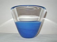 SMALL Gorgeous MODERN Signed SALVIATI Art Glass VASE w/ Original LABEL Blue 1998