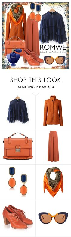"""""""Navy&orange"""" by subvilli on Polyvore featuring Lands' End, Valentino, 1st & Gorgeous by Carolee, MICHAEL Michael Kors, Marni, Guerlain, orange, navy and romwe"""
